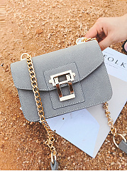 PU Plain Chain Shoulder Bags