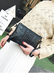 Fashion All Black Beading Fringe Decoration Clutches
