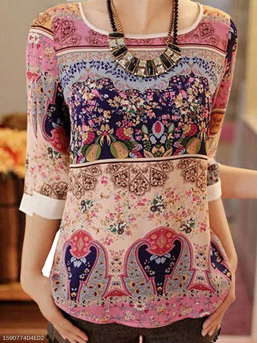 Round Neck  Floral  Three-Quarter Sleeve Blouses