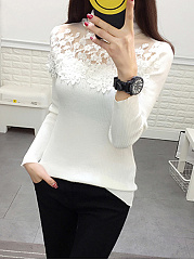 Decorative Lace  Plain Sweaters