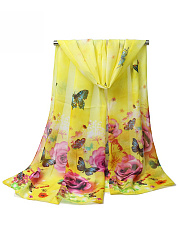 Butterfly Floral Printed Long Scarf