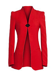 Collarless-Plain-Long-Sleeve-Blazers