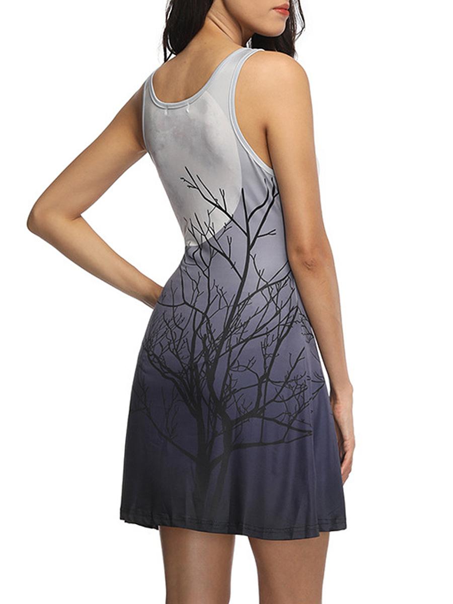 Round Neck Gradient Tree Printed Mini Skater Dress