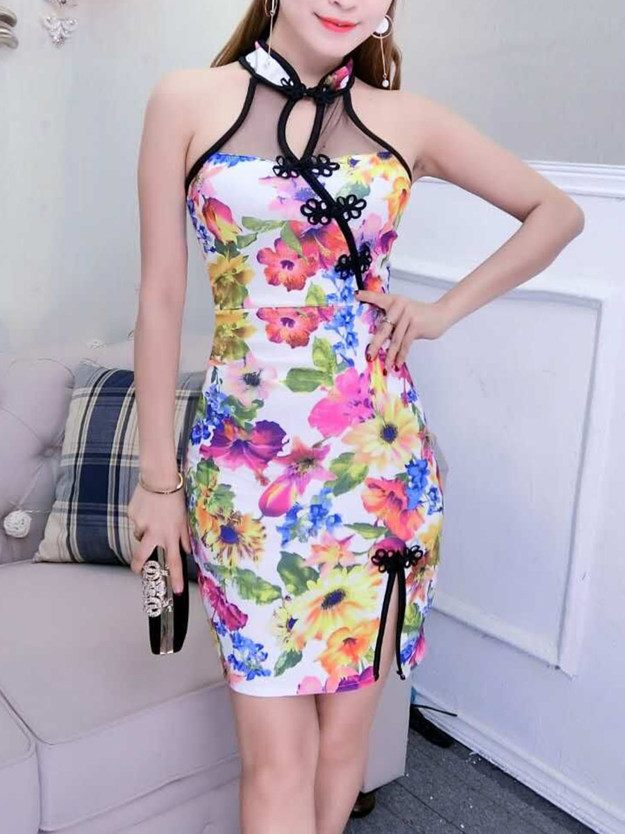 Band Collar Slit Floral Hollow Out Mini Bodycon Dress
