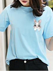 Spring Summer  Polyester  Women  Round Neck  Animal Printed Short Sleeve T-Shirts