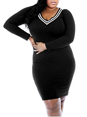 V-Neck  Plain Striped Plus Size Bodycon Dresses