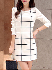 Round-Neck-Grid-Shift-Dress