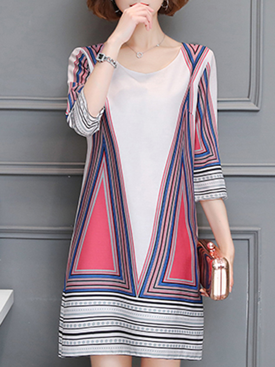 Round Neck Geometric Striped Shift Dress