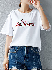 Summer  Cotton  Women  Round Neck  Embroidery Letters Short Sleeve T-Shirts