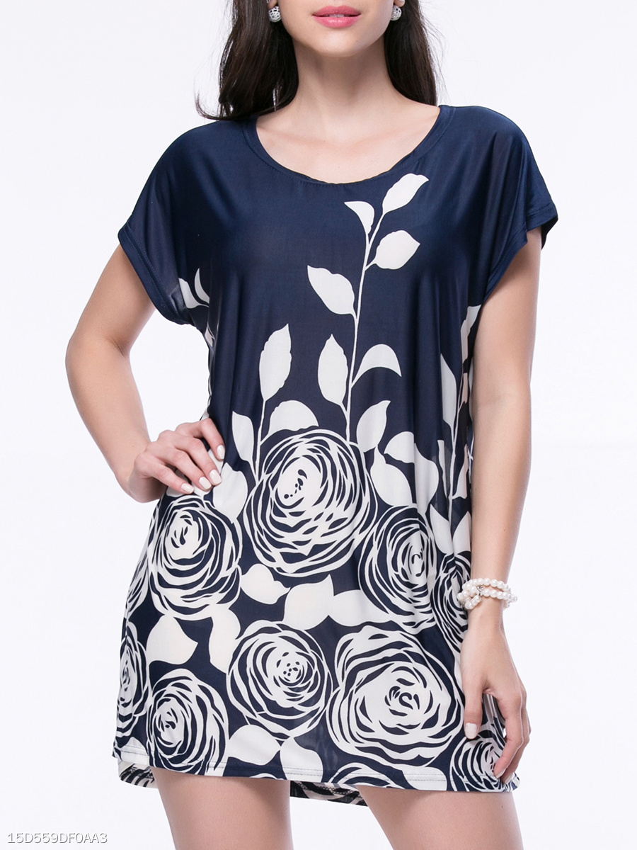 Casual Loose Floral Printed Short Sleeve Shift Dress