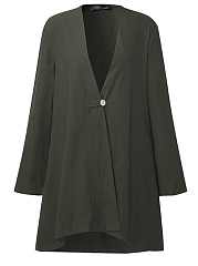 Single Button  Plain  Long Sleeve Trench Coats