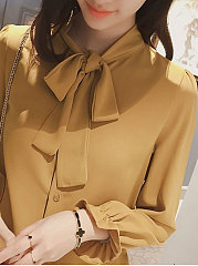 Autumn Spring  Polyester  Women  Tie Collar  Bowknot  Plain  Bell Sleeve  Long Sleeve Blouses
