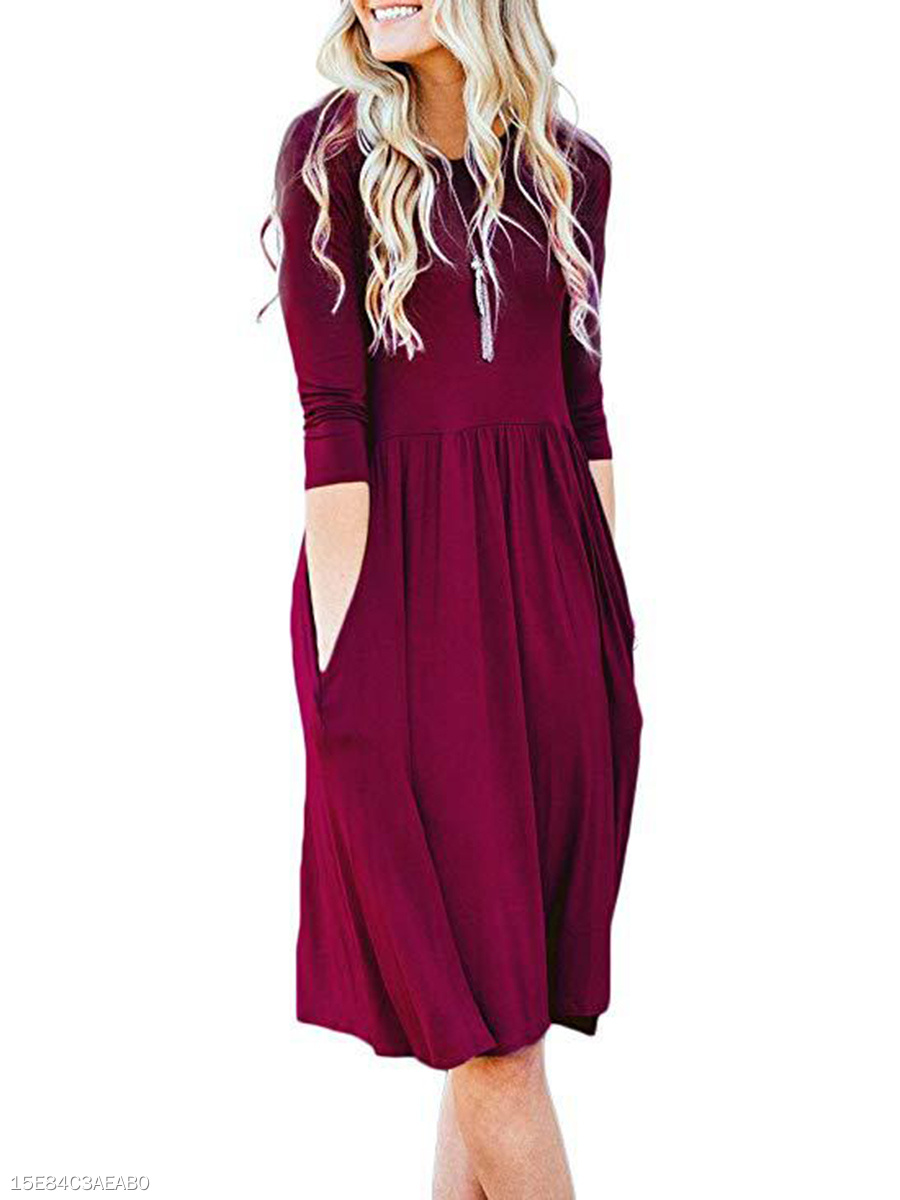 Plain Round Neck Casual Date Shift Dress