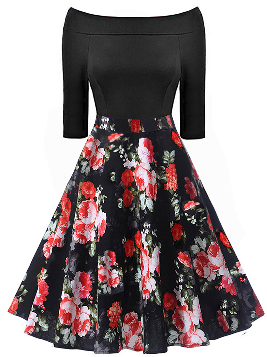 Celebrity Off Shoulder Floral Printed Midi Skater Dress