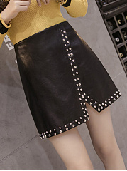 Solid-Rivet-PU-Leather-A-Line-Mini-Skirt