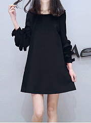 Round Neck Pocket Plain Flounce Shift Dress