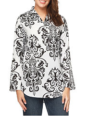 V-Neck  Asymmetric Hem  Printed  Long Sleeve Blouses