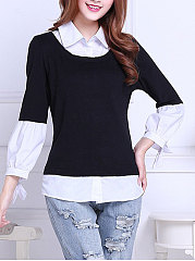 Autumn Spring  Polyester  Women  Turn Down Collar  Patchwork  Plain Blouses