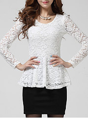 Solid Lace Hollow Out Peplum Round Neck Blouse