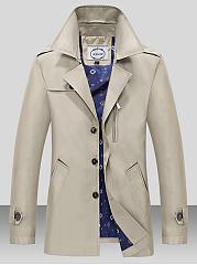 Lapel-Single-Breasted-Pocket-Plain-Men-Coat