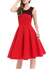 Round-Neck-Decorative-Lace-Sleeveless-Skater-Dress