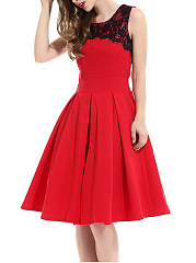 Round Neck Decorative Lace Sleeveless Skater Dress