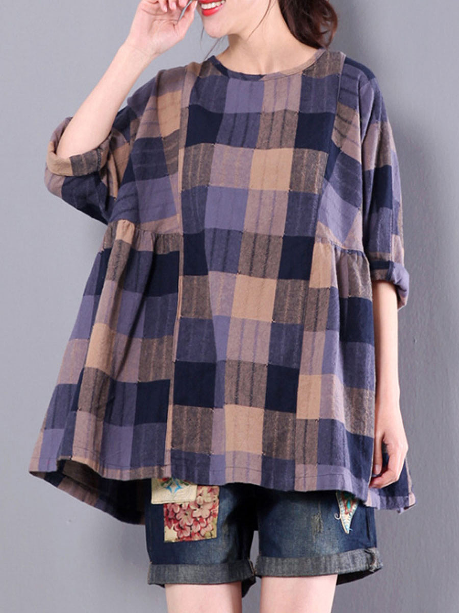 Spring Summer  Cotton  Women  Round Neck  Plaid  Short Sleeve Blouses