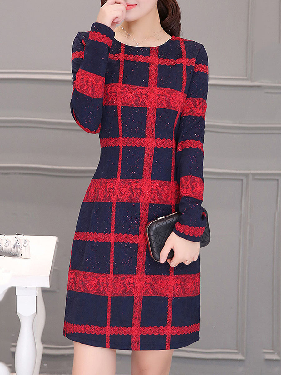 Round Neck Plaid Long Sleeve Bodycon Dress