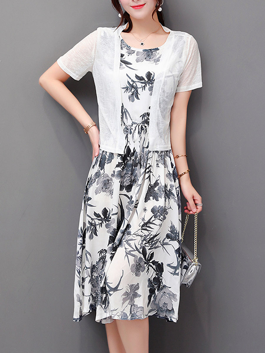 Floral Printed Drawstring Two-Piece Maxi Dress