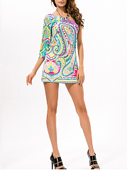 One Sleeve Paisley Elastic Shift Dress
