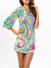 One-Sleeve-Paisley-Elastic-Shift-Dress
