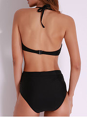Sexy Patchwork Cut Out Halter Backless Monokini Hollow Bodysuit