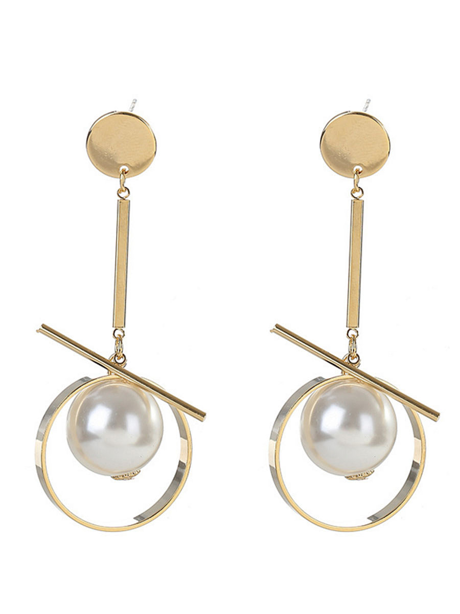 Pearl Pendant Gold Earrings