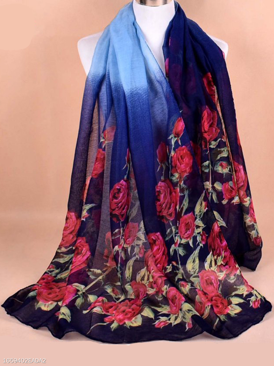 Women Gradient  Rose Floral Printed Voile Scarves Flower Voile Shawls