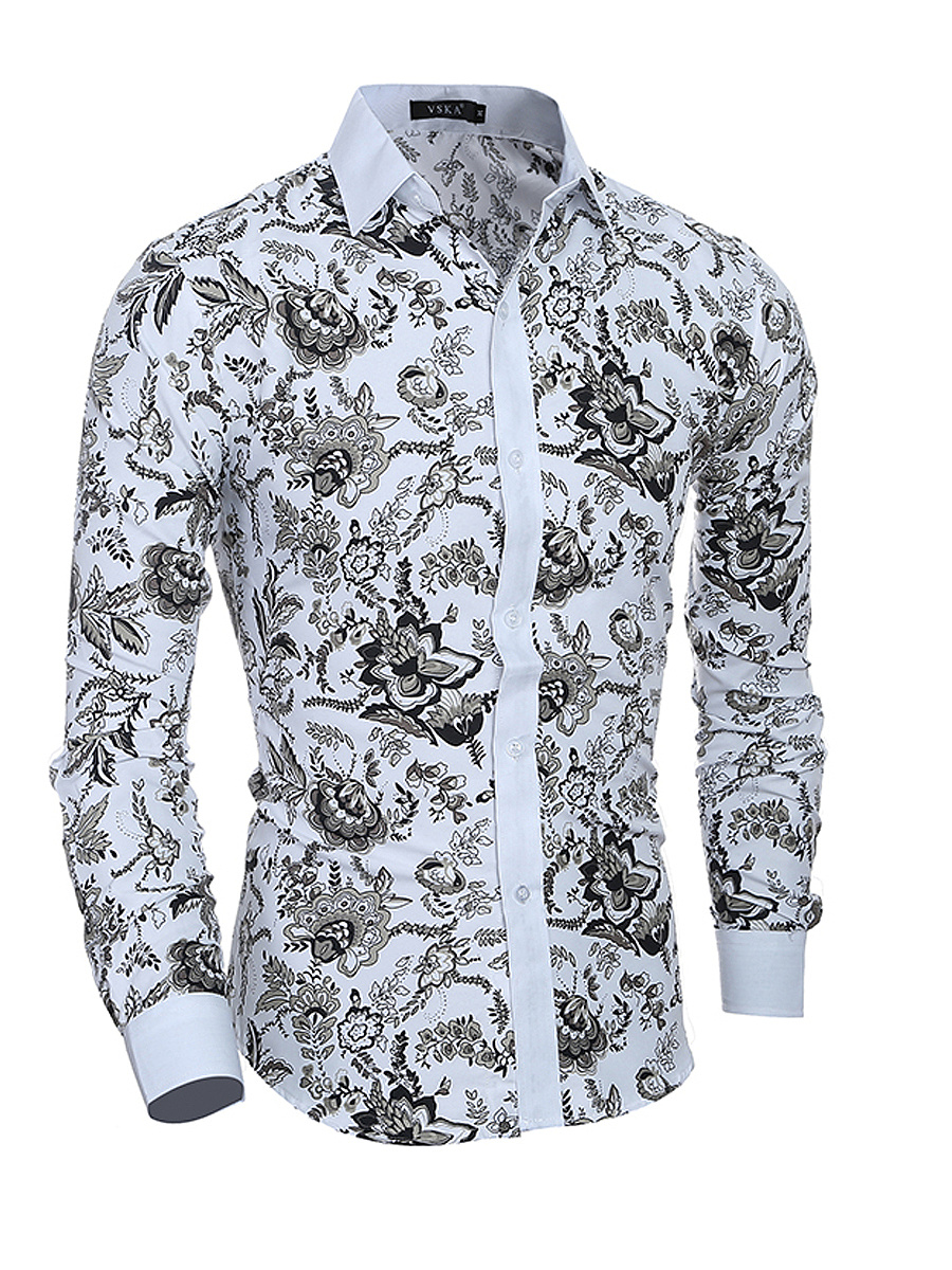 Mens Vintage Printed Casual Shirt
