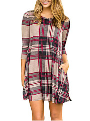 Round-Neck-Pocket-Plaid-Shift-Dress