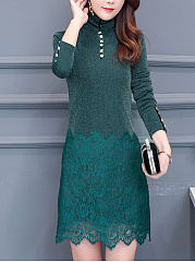 High Neck  Decorative Lace  Decorative Button  Plain Shift Dress