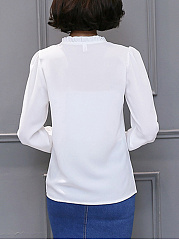 Tie Collar Keyhole Plain Long Sleeve T-Shirt