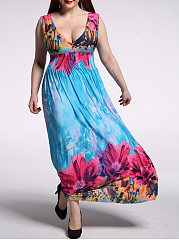 Empire Deep V-Neck Plus Size Maxi Dress In Floral Printed