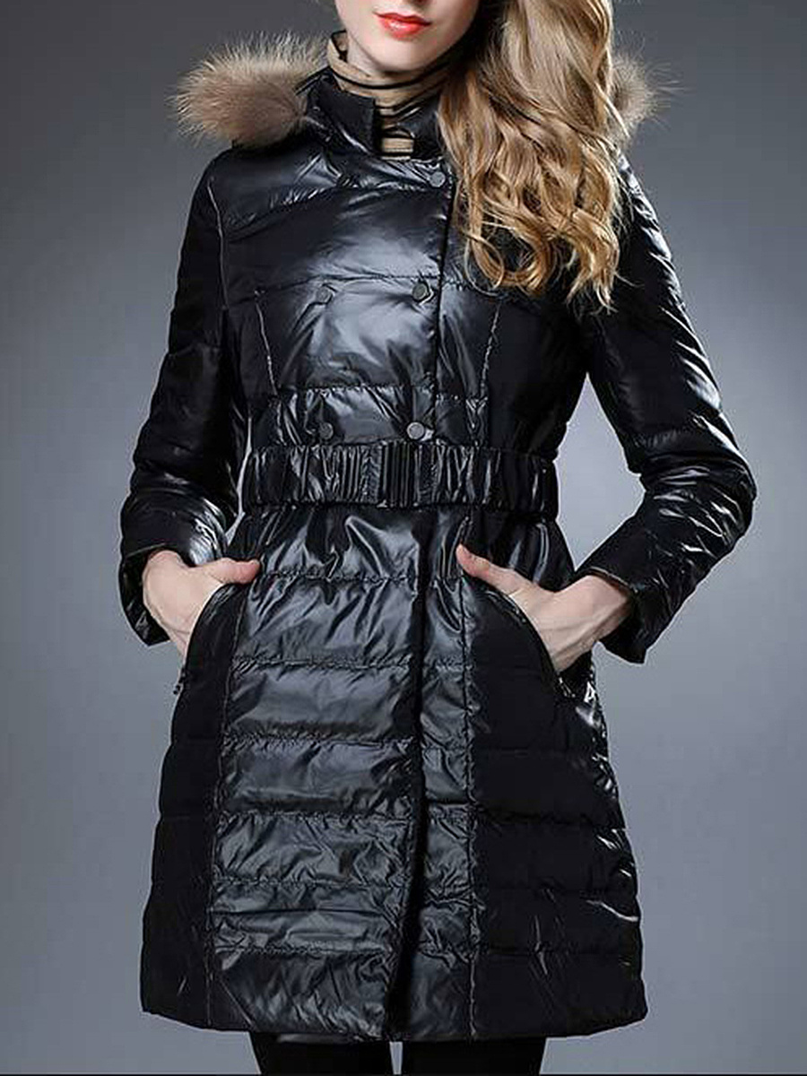 Hooded Double Breasted Belt Quilted Plain Down Coat