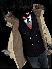 Men Hooded Flap Pocket Fleece Lined Coat