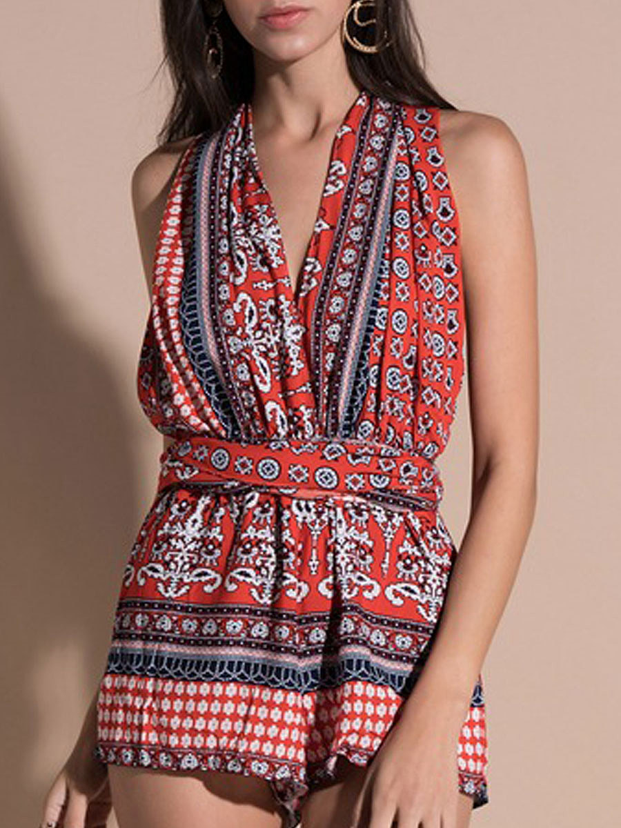 Bohemian Backless  Abstract Print Jumpsuits For Women