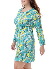 Round Neck  Printed Plus Size Bodycon Dress