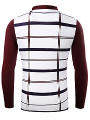 Polo Collar Plaid Men Long Sleeve T-Shirt