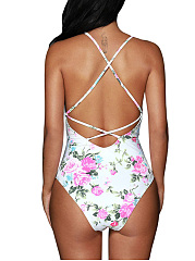 Spaghetti Strap Cutout Floral Printed One Piece