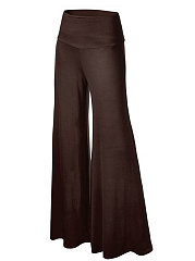 Plain  Wide-Leg Casual Pants