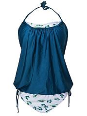 Halter-Back-Hole-Printed-Swimwear