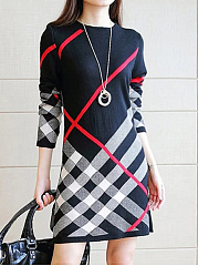 Simple Round Neck Printed  Cotton Blend Shift Dress