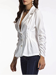 Notch Lapel Single Breasted Ruched Plain Blazer