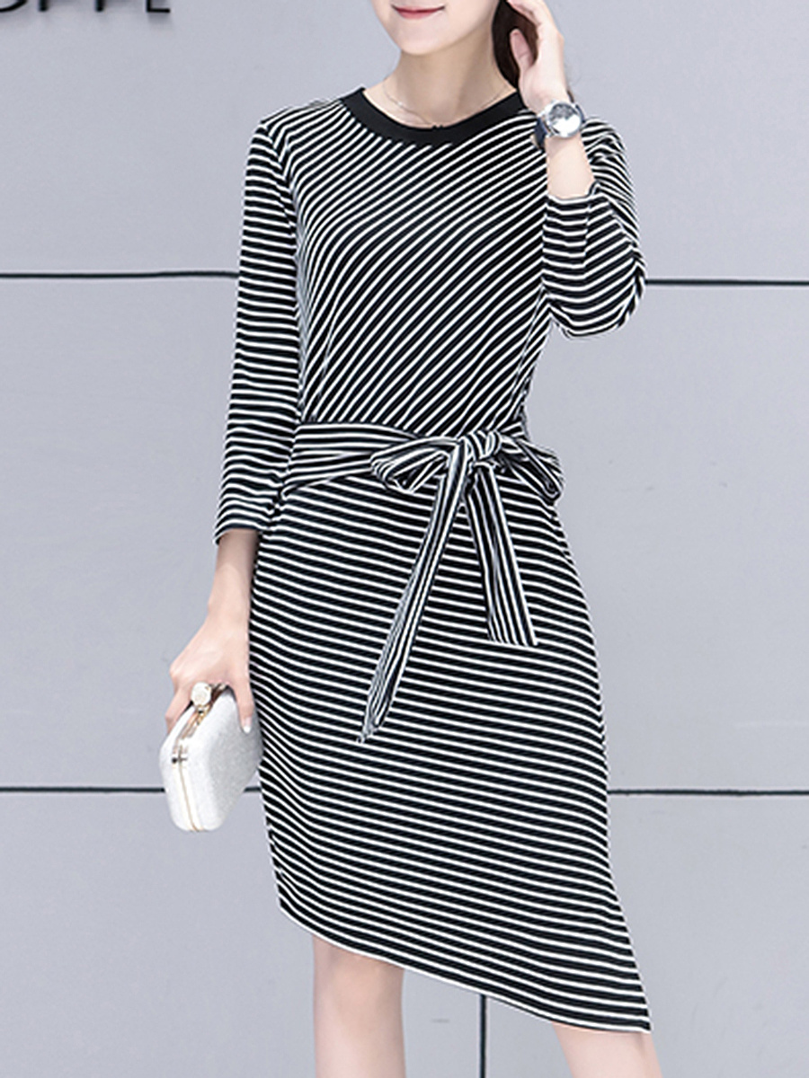 Asymmetric Hem Striped Tie-Front Bodycon Dress